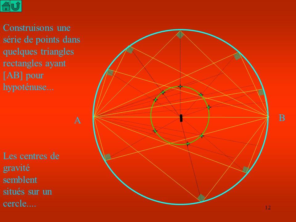 Construisons une série de points dans quelques triangles rectangles ayant [AB] pour hypoténuse...